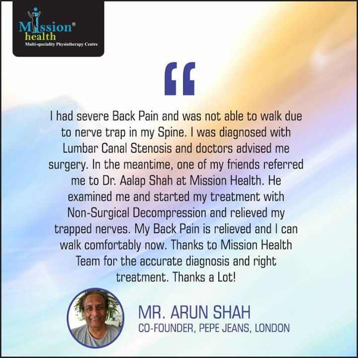 Testimony of Trust #MissionHealth #SuperspecialitySpineClinic #MoreThan18000SpinePatientsTreated #SlippedDiscDoNotPanic #10SatisfyingYears #HighlyExperiencedTeamofSpineRehabExperts Call 7622811811/8530720720