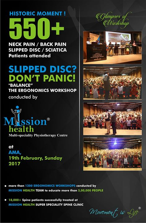 Glimpses of Slipped Disc - Do Not Panic Workshop organised by Mission Health... More than 550 Slipped Disc patients/relatives all under 1 roof... #MissionHealth #NeckPainBackPainSciaticaSpecialists #SuperSpecialitySpineClinic #MovementIsLife