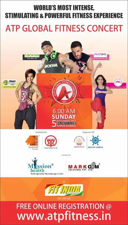Get Ready Ahmedabad, 5th November 2017, Sunday Morning 6 am @ Rajpath Club, Ahmedabad. #ATPGlobalFitnessConcert #MissionHealth Fit Entry Pass AVAILABLE @ ALL BRANCHES OF MISSION HEALTH FROM 25th October 2017...