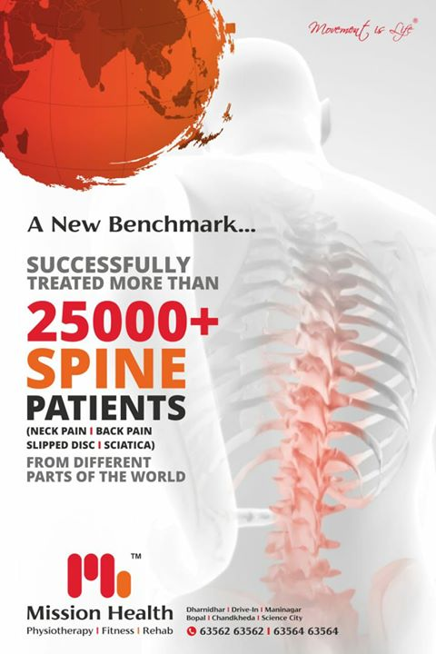 It was before 135 Months, our team developed the concept of Super Speciality Spine Rehab 1st of Its kind in the Country, Our team kept working day in & day out;  and today we feel so happy to announce that 25000 Spine patients treated successfully from all parts of world @ Mission Health. Thank you patrons for your Trust, Support & Love... #MissionHealth #SuperSpecialitySpineClinic #7stepUniqueSpineRehab #SayByeToNeckPainBackPain #SlippedDiscDoNotPanic #MoreThan25000SpinePatientsTreated #MoreThan500000PeopleEducatedOnErgonomics #RehabSuites #Trendsetter #BestIsyetToCome  +916356263562/6356463564 www.thespinaldecompression.in www.missionhealth.co.in