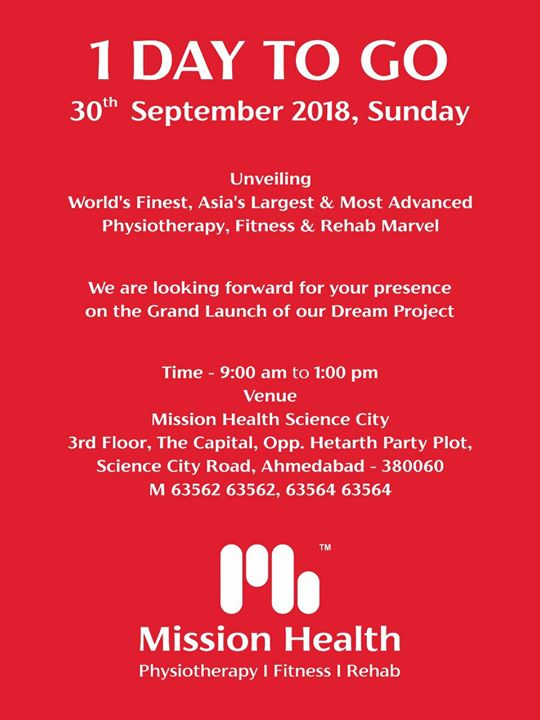 Dear Patrons & Friends...Look forward to see you on Grand Launch of Mission Health Science City Branch on 30th september 2018, Sunday 9 am to 1 pm...