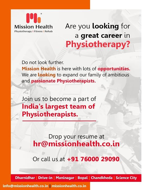 We are looking to expand our family of ambitious and passionate Physiotherapists.  Join us to become a part of India's largest team of #Physiotherapists.  #MissionHealth #MissionHealthIndia #Physiotherapy #Fitness #Rehab #AbilityClinic #RehabSuites #MetabolixClinic #MovementIsLife