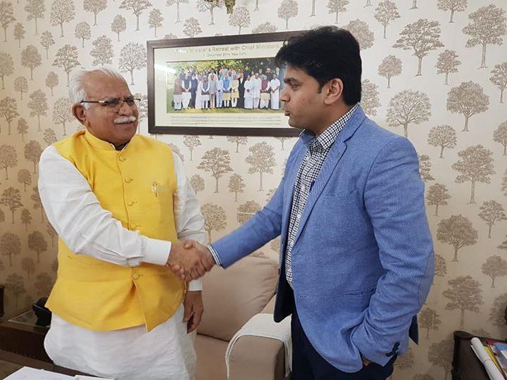 Meeting Hon. Chief Minister of Haryana Shri Manohar Lal Khattar ji...