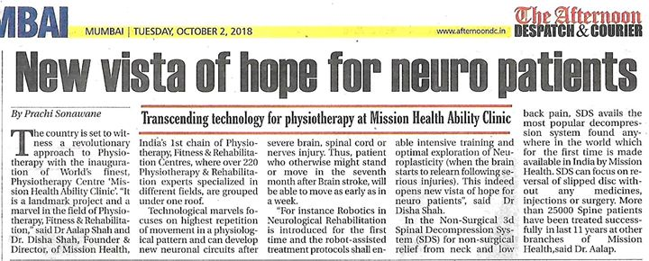 New Vista of Hope for Neuro Patients @ Mission Health Ability Clinic, Ahmedabad.  Call +916356263562 www.missionhealth.co.in