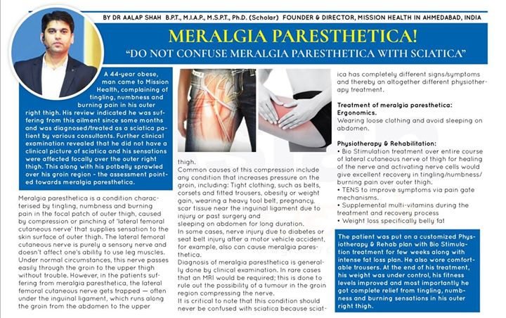 - Do Not Confuse Meralgia Paresthetica with Sciatica...
