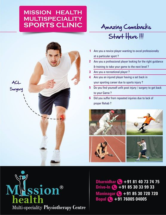 All sports pros.. 360 degree sports rehab and sports conditioning @ MissionHealth Ahmedabad sports clinic.
