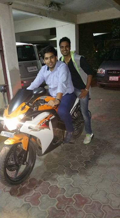 Me with my very dear friend Dr. Deepak from  office to home on bike...1st January 2016...on bike after long long time...real fun to drive the bike...