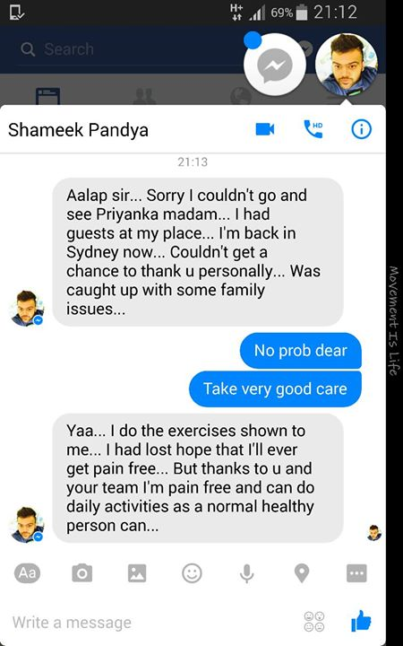 Testimony of Spine treatment @ MissionHealth Ahmedabad super speciality spine clinic continues # All the best Shameek Pandya for active and normal life once again.