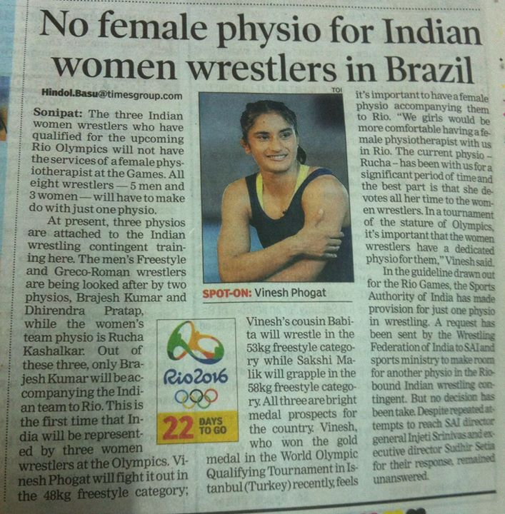 Need of the day # Sports in India growing high and so are the demands of physios.