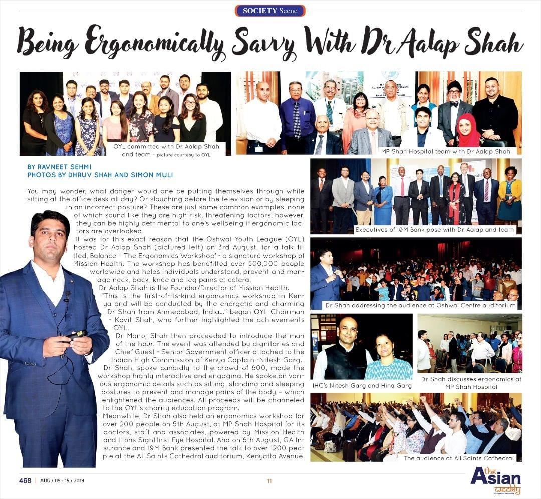 Dr. Alap Shah,  MissionHealth, ProudMoment, MovementIsLife, BalanceTheErgonomicsWorkshop, IncreaseWorkEfficiency, PreventNeckPainBackPain, FirstTimeInKenya