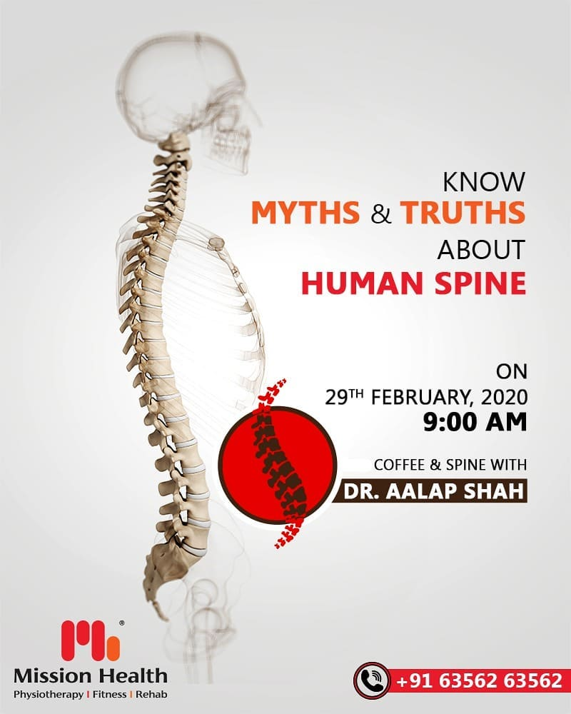 Coffee & Spine event is just a DAY away! Learn interesting facts about Human Spine and discuss your Spine Problems in a uniquely designed event at Mission Health.  Human Spine is a very complex yet miraculous structure. Know Myths & Truths about Human Spine over a Coffee... Tomorrow, 29th February, 2020  Call: +916356263562 Visit: www.missionhealth.co.in  #CoffeeAndSpineWithDrAalapShah #DrAalapShah #SuperSpecialitySpineClinic #SpineClinic #BackPain #NeckPain #SlippedDisc #MissionHealth #MissionHealthIndia #AbilityClinic #MovementIsLife